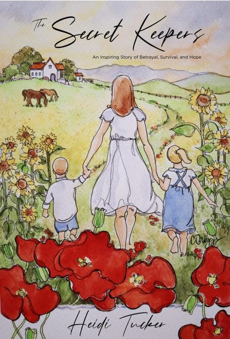 The cover of the book, The Secret Keepers. Shows a young woman holding the hands of two children walking away from the viewer into a green field.
